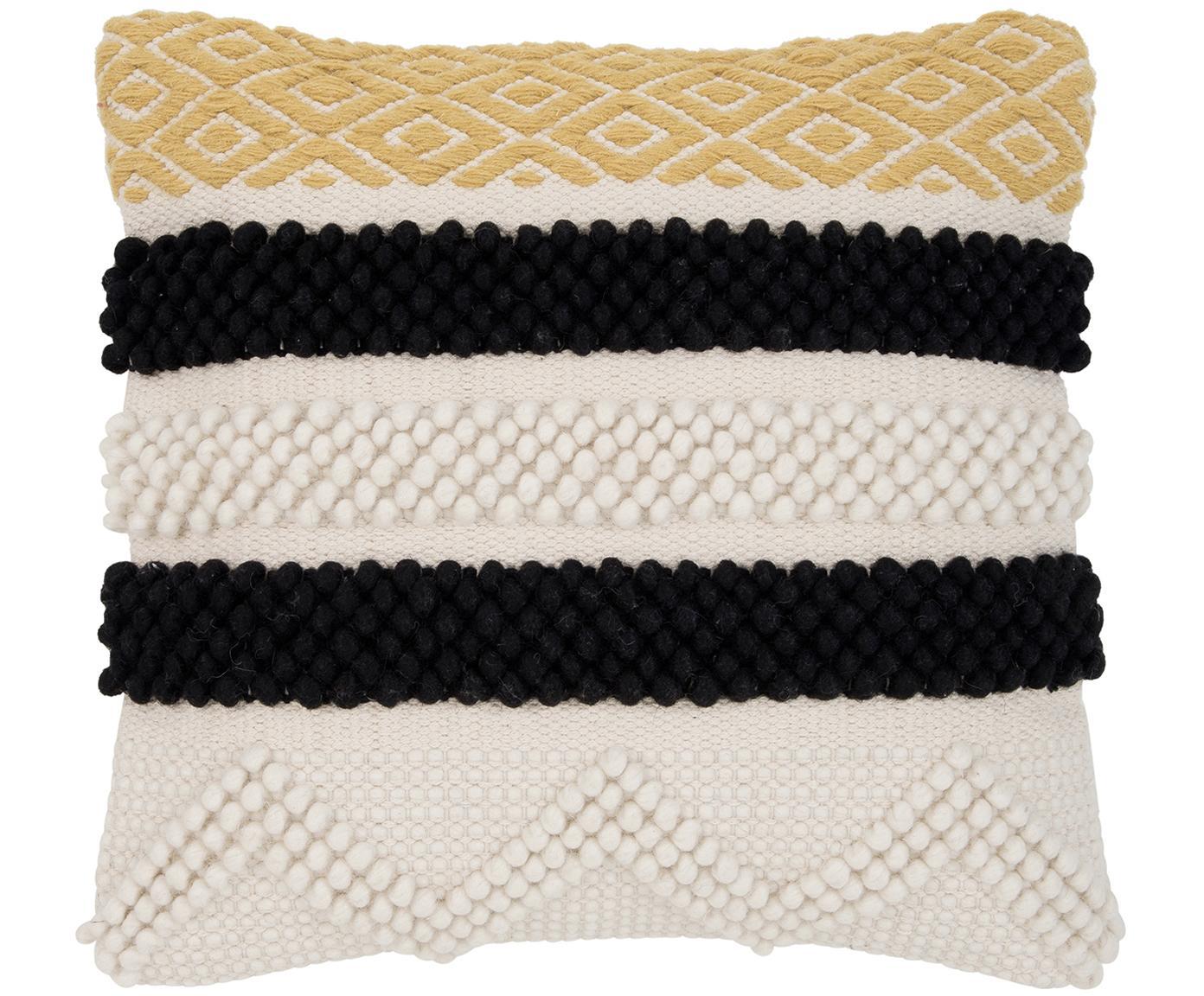 Funda de cojín Takala, estilo boho, 80%algodón, 20%poliéster, Crudo, negro, amarillo, An 45 x L 45 cm