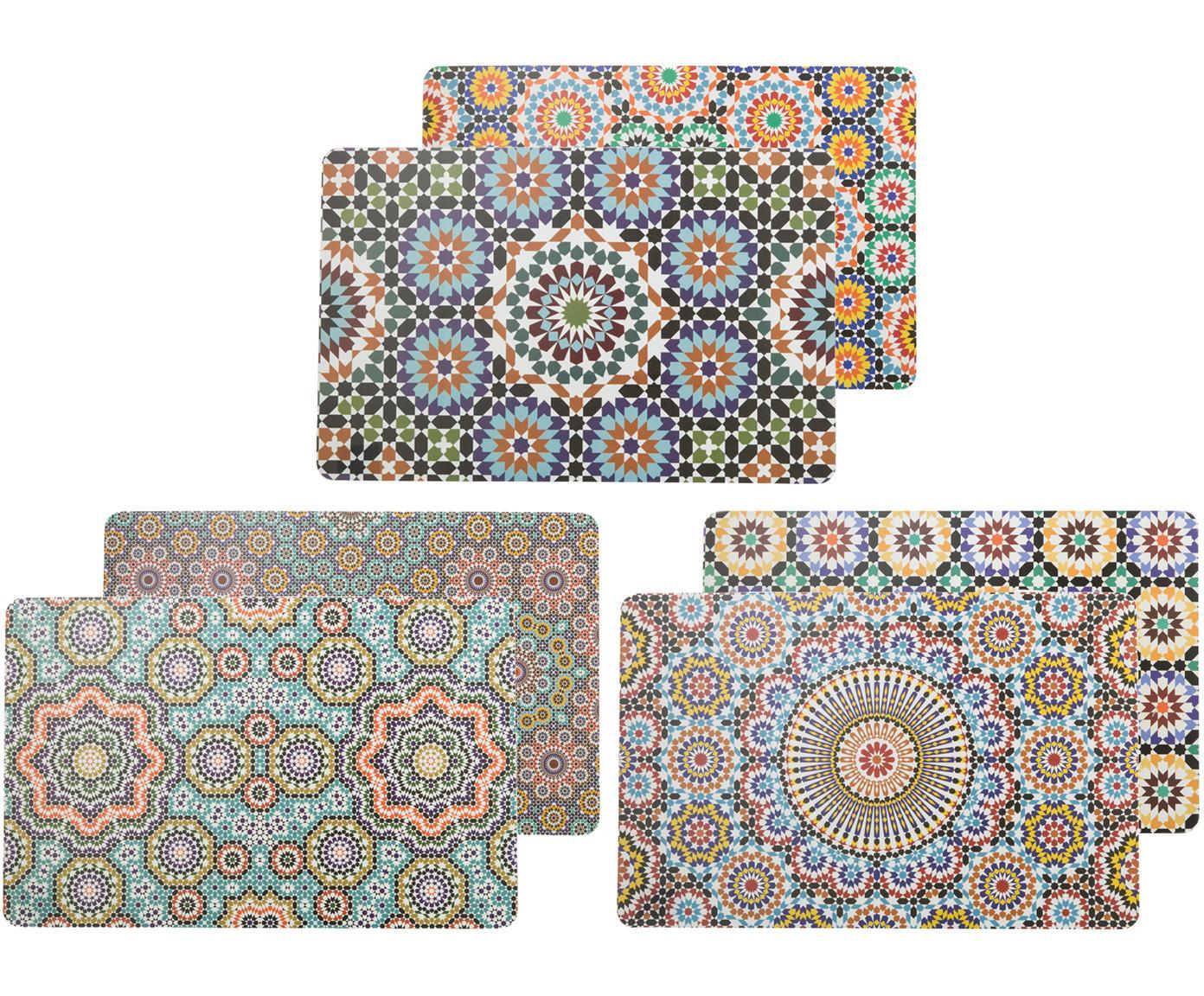 Kunststoffen placemats Marrakech Doubleface, 6-delig, Kunststof, Multicolour, 30 x 45 cm