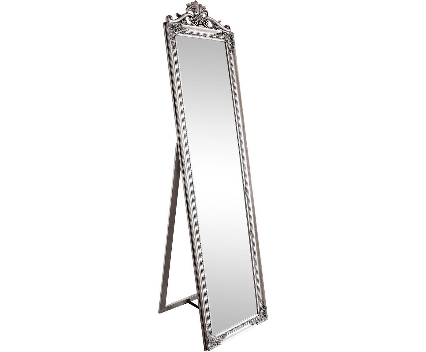 Standspiegel Miro mit silbernem Holzrahmen, Rahmen: Holz, beschichtet, Spiegelfläche: Spiegelglas, Silberfarben, 45 x 180 cm