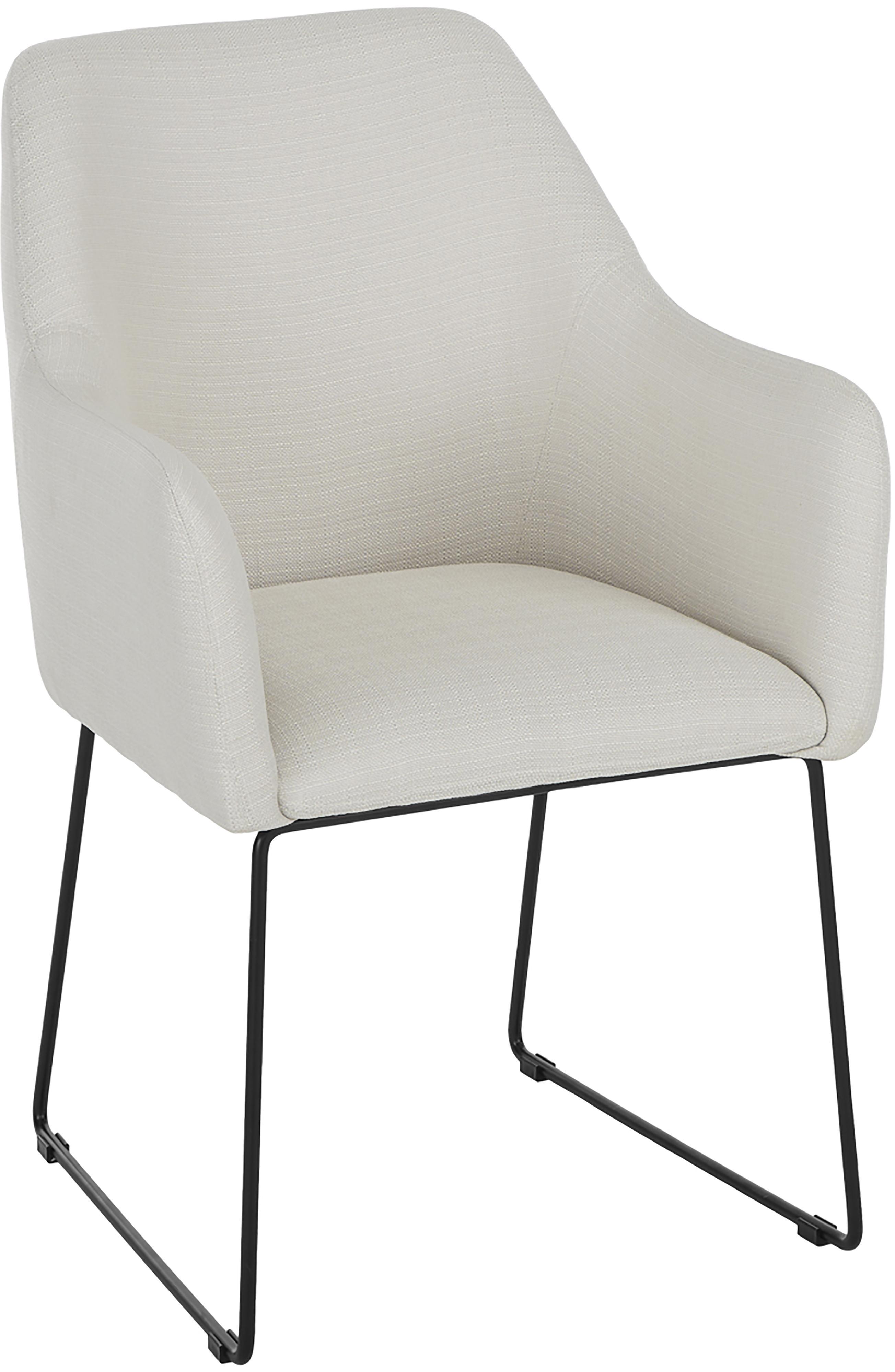 Sedia in velluto con braccioli Isla, Rivestimento: poliestere 50.000 cicli d, Gambe: metallo verniciato a polv, Tessuto bianco crema, gambe nere, Larg. 58 x Prof. 62 cm