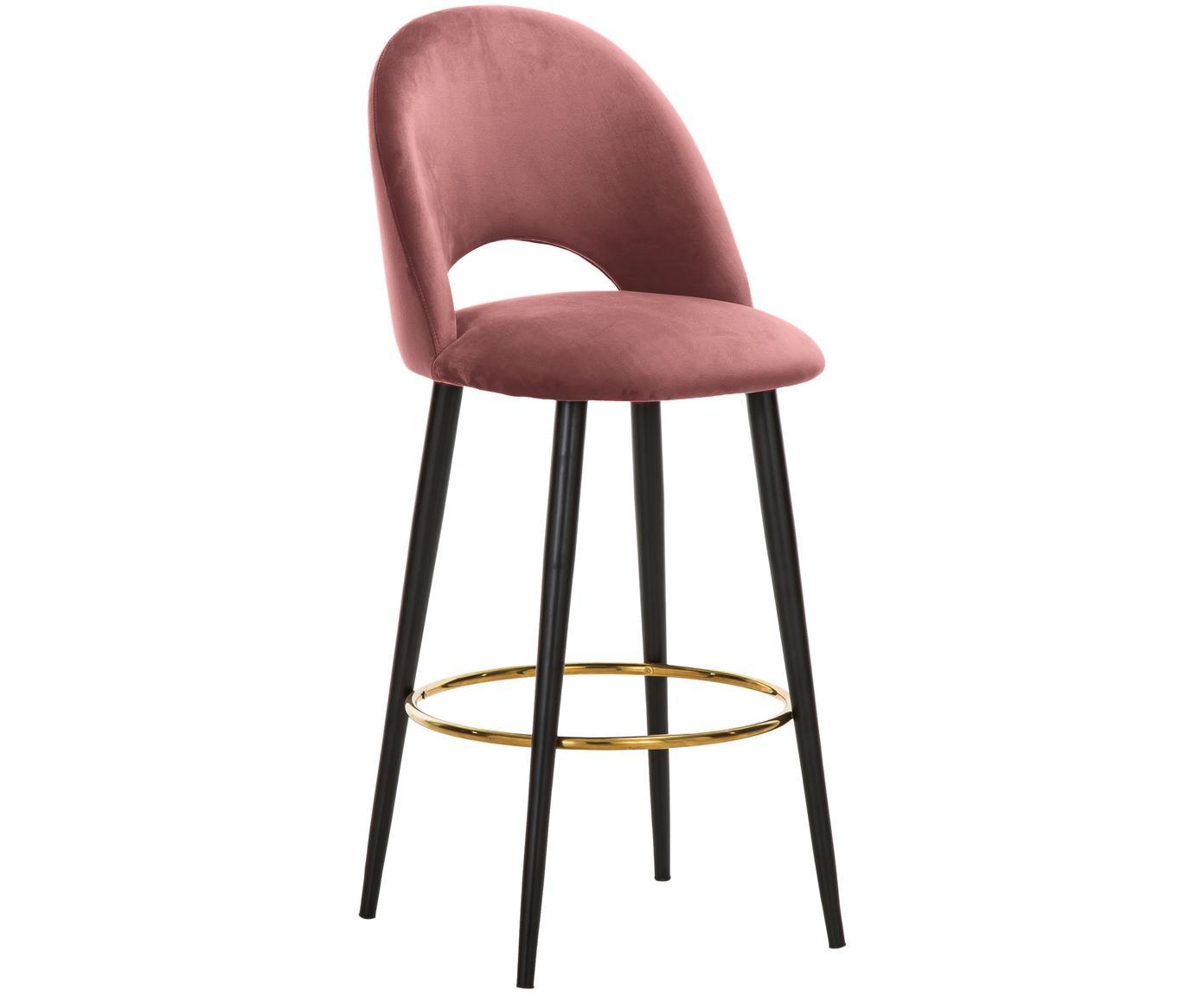 Sedia da bar in velluto Rachel, Rivestimento: velluto (poliestere) 50.0, Gambe: metallo verniciato a polv, Velluto rosa cipria, Larg. 48 x Alt. 110 cm
