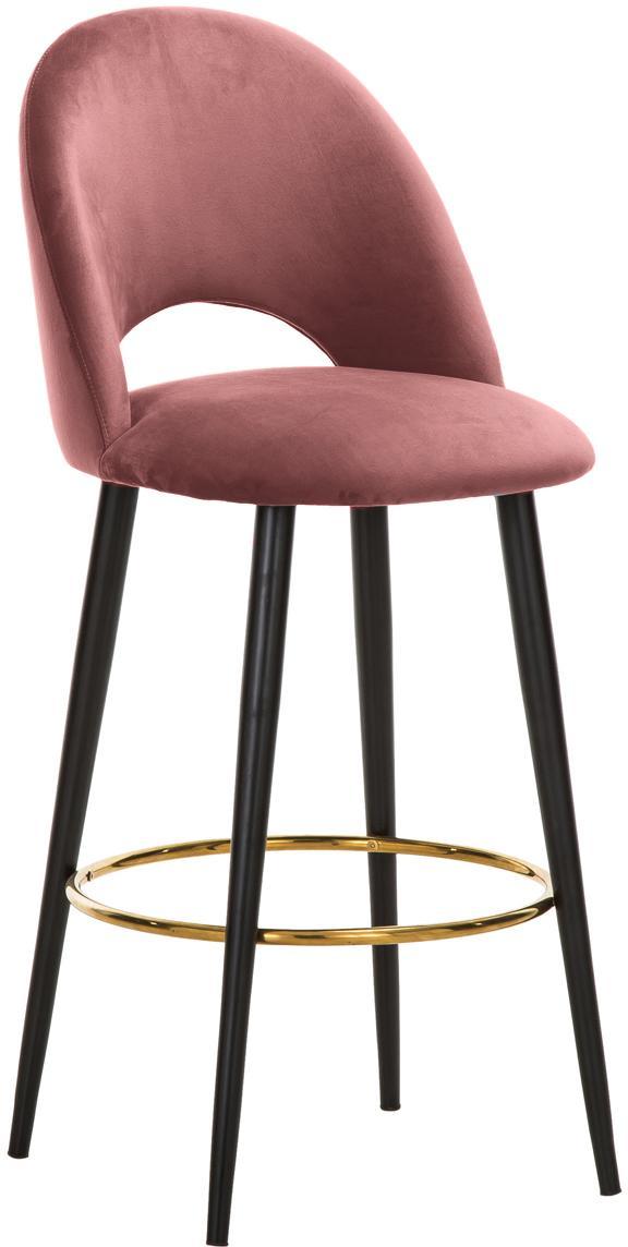 Krzesło barowe z aksamitu Rachel, Tapicerka: aksamit (poliester) 5000, Nogi: metal malowany proszkowo , Aksamitny brudny różowy, S 48 x W 110 cm