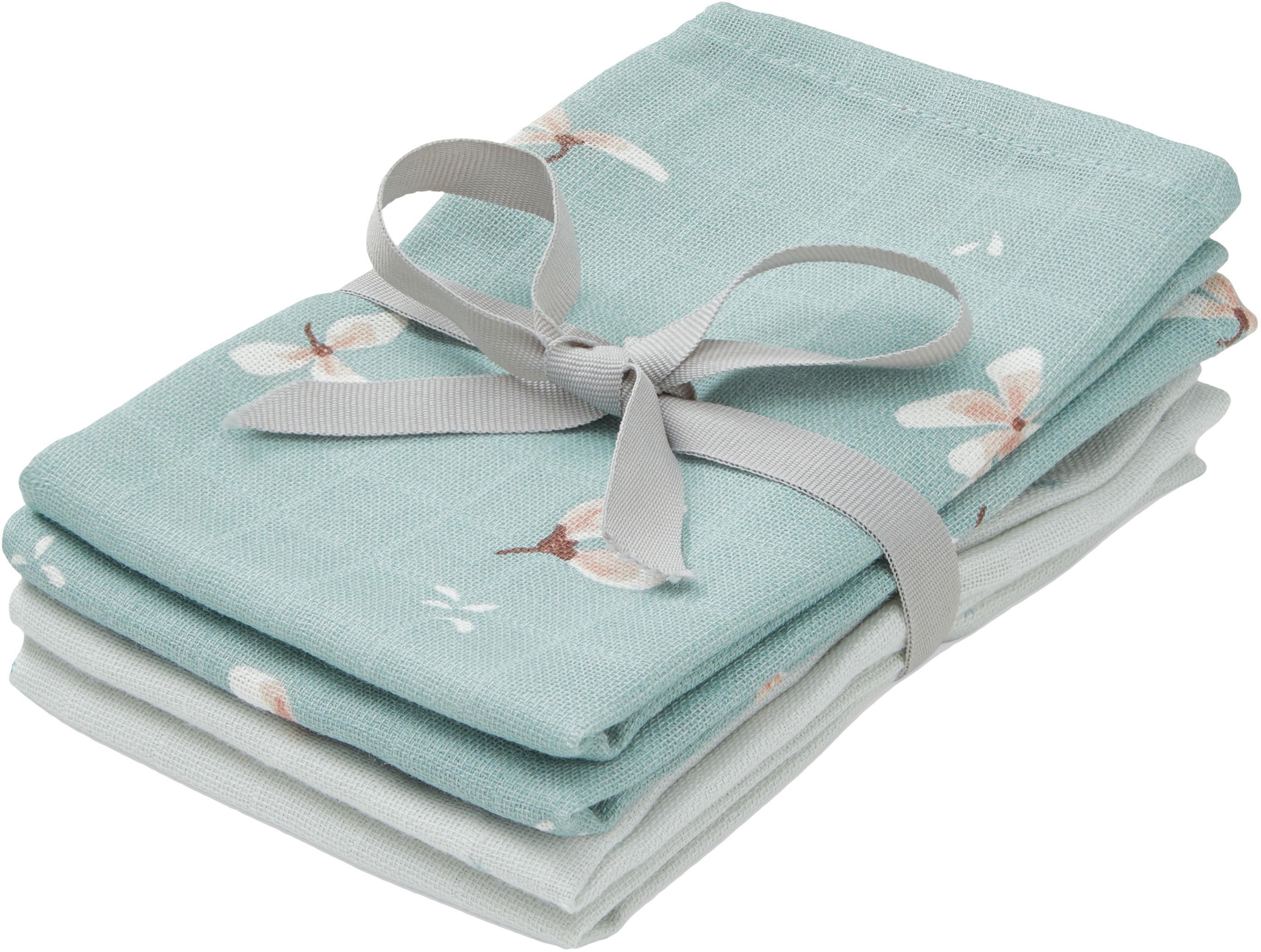 Set de toallitas de tela de algodón ecológico Wildflower, 4pzas., 100%algodón ecológico, certificado GOTS, Azul claro, crema, gris, rosa, An 30 x L 30 cm