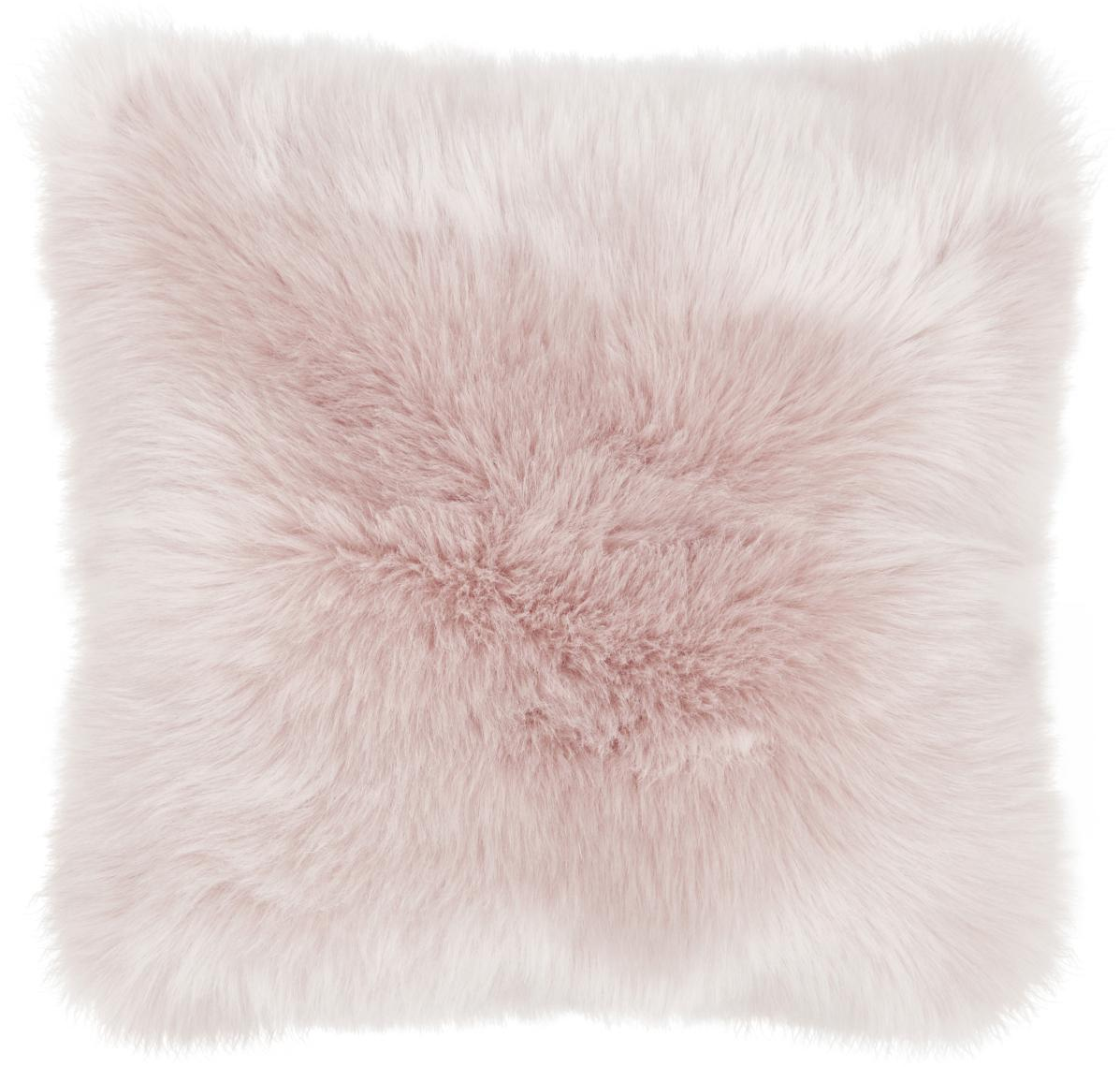 Flauschige Kunstfell-Kissenhülle Mathilde, glatt, Vorderseite: 67% Acryl, 33% Polyester, Rückseite: 100% Polyester, Rosa, 40 x 40 cm