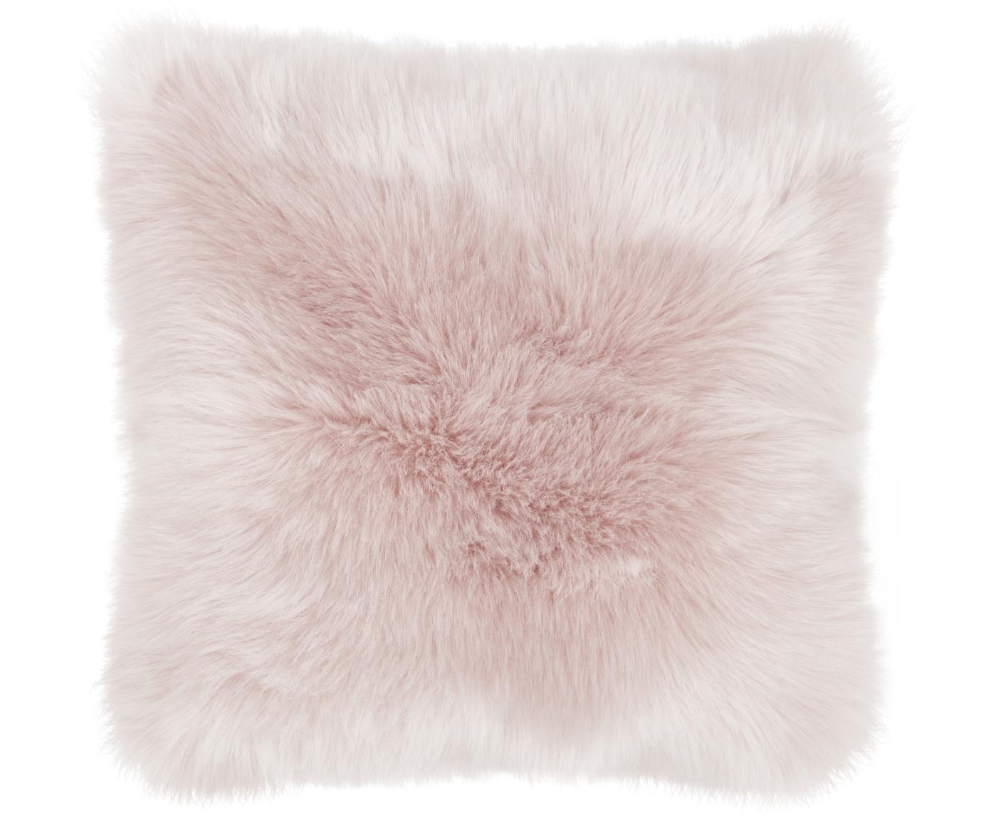 Poszewka na poduszkę ze sztucznego futra Mathilde, gładka, Blady różowy, S 40 x D 40 cm