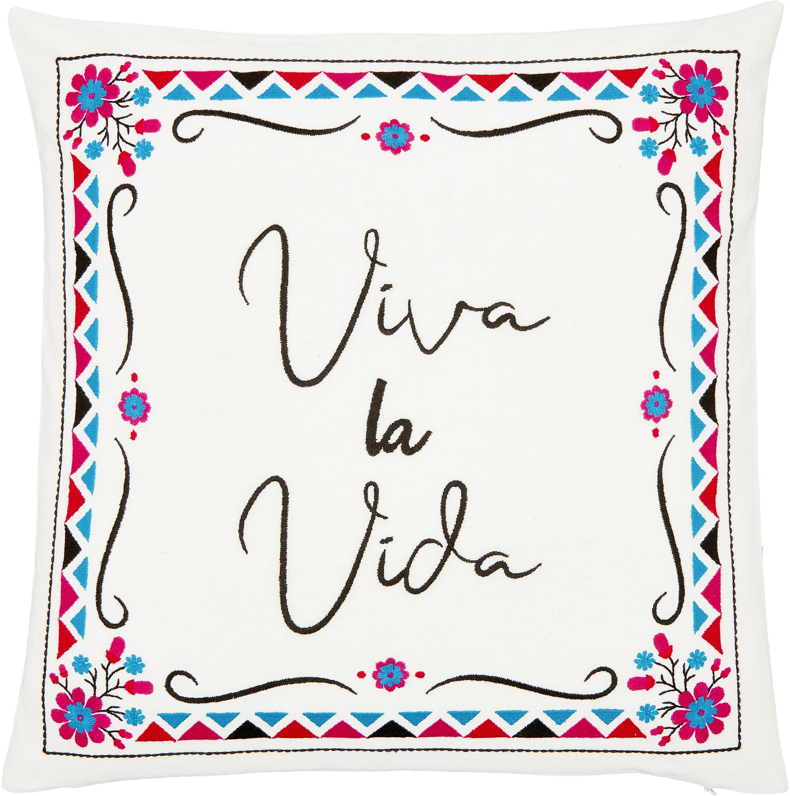 Funda de cojín bordada Viva la Vida, Algodón, Blanco crema, multicolor, An 45 x L 45 cm