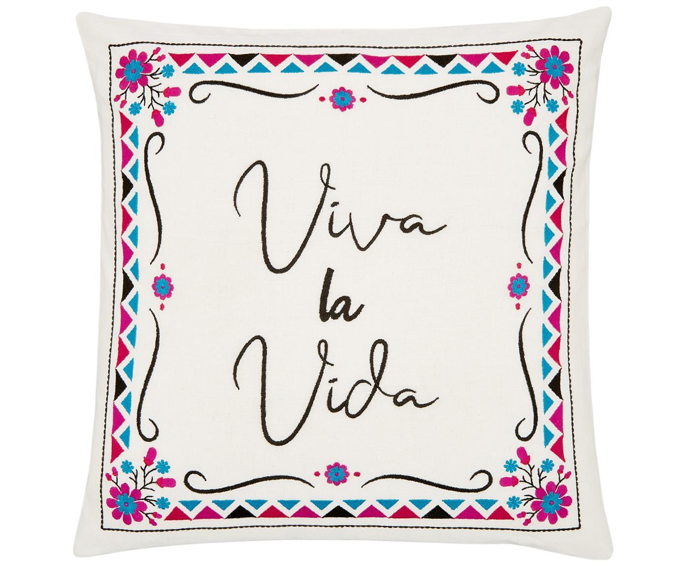 Kleurrijk geborduurde kussenhoes Viva la Vida, Katoen, Crèmewit, multicolour, 45 x 45 cm