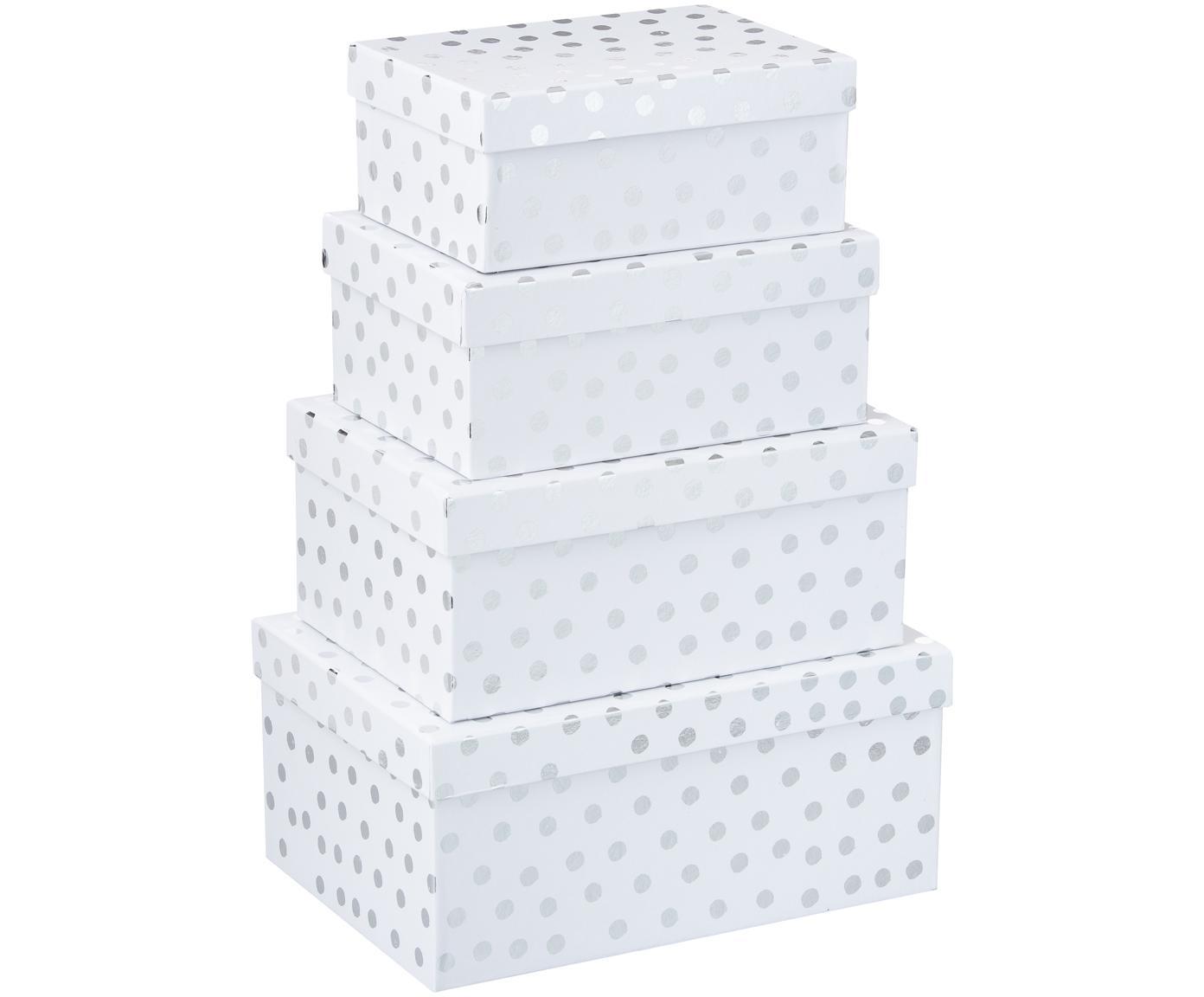Set de cajas regalo Dots, 4pzas., Cartón, Blanco, plateado, Tamaños diferentes
