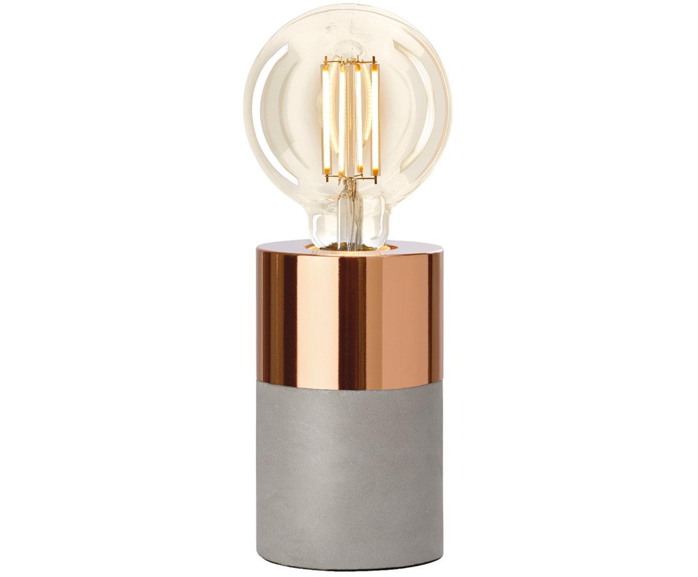Lámpara de mesa de cemento Athen, Gris, cobre, Ø 8 x Al 14 cm