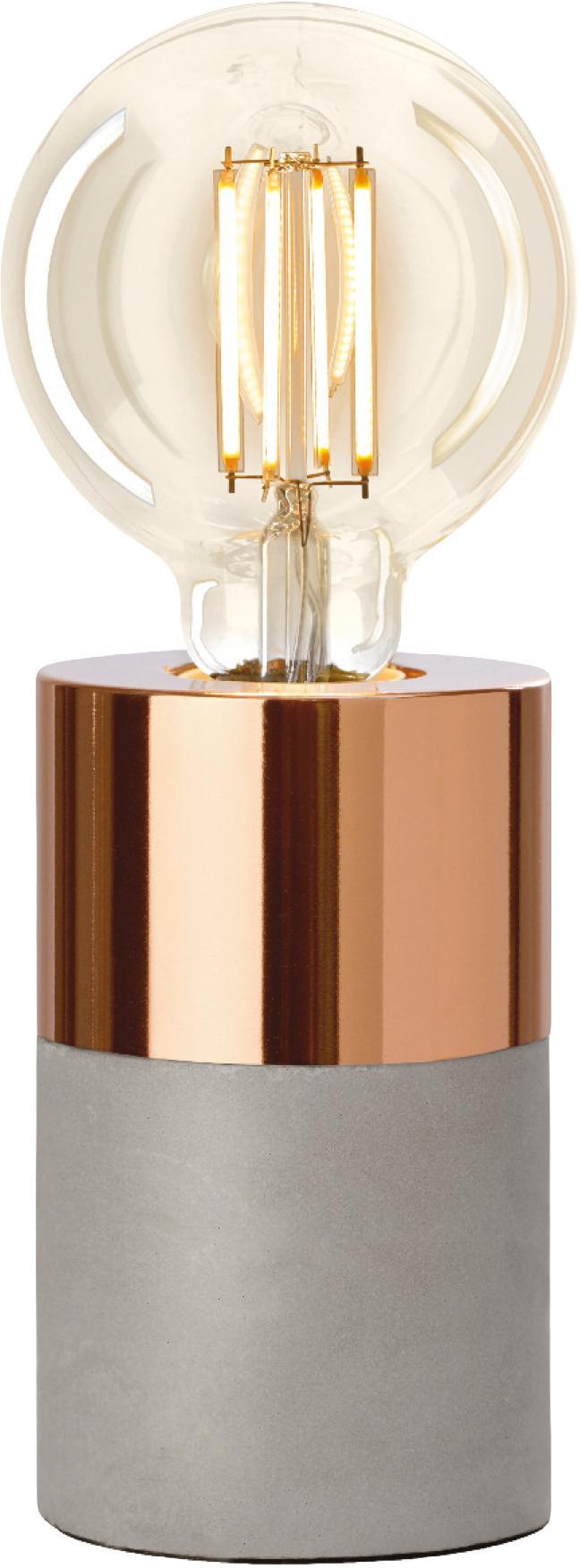 Lampada da tavolo con base in cemento Athen, Grigio, rame, Ø 8 x Alt. 14 cm