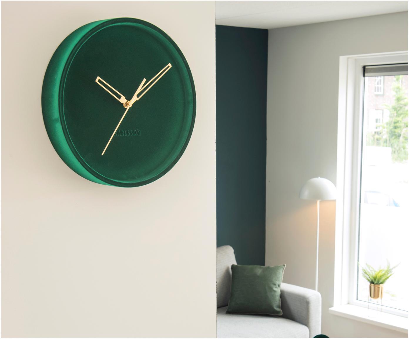 Orologio da parete in velluto Lush, Quadrante: velluto di poliestere, Verde, Ø 30 x P 6 cm