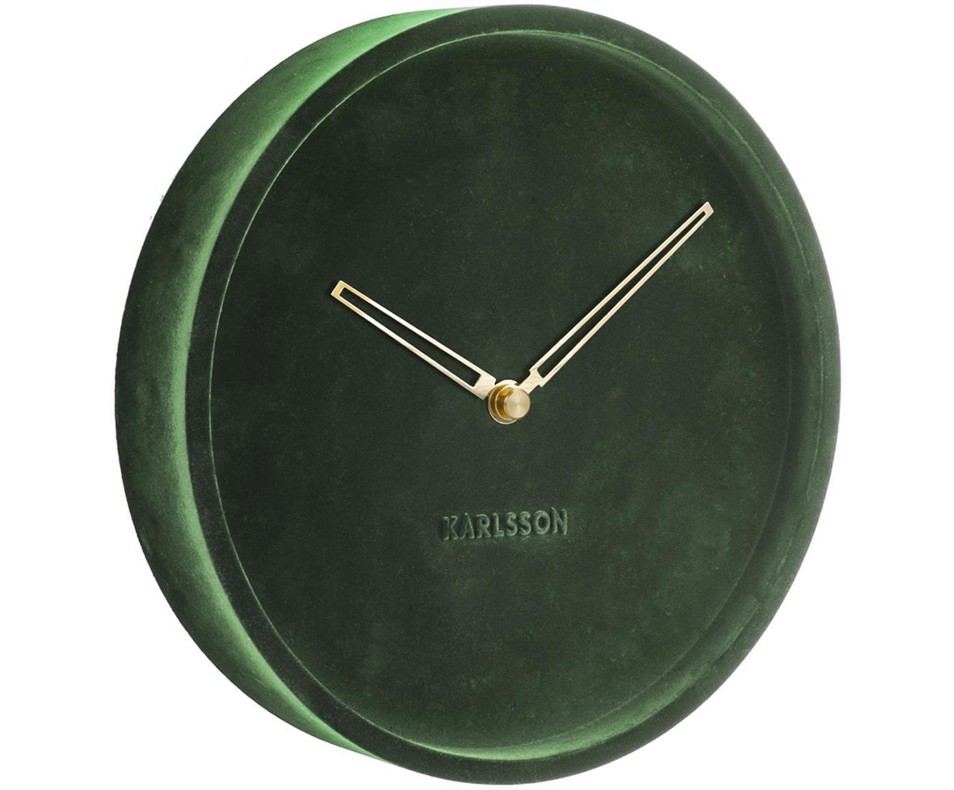 Fluwelen wandklok Lush, Groen, Ø 30 x D 6 cm