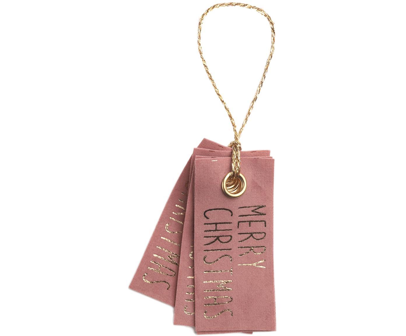 Etiquetas para regalo Vellu, 6uds., 50%poliéster, 40%rayón, 10%adhesivo, Rosa, dorado, An 3 x Al 7 cm