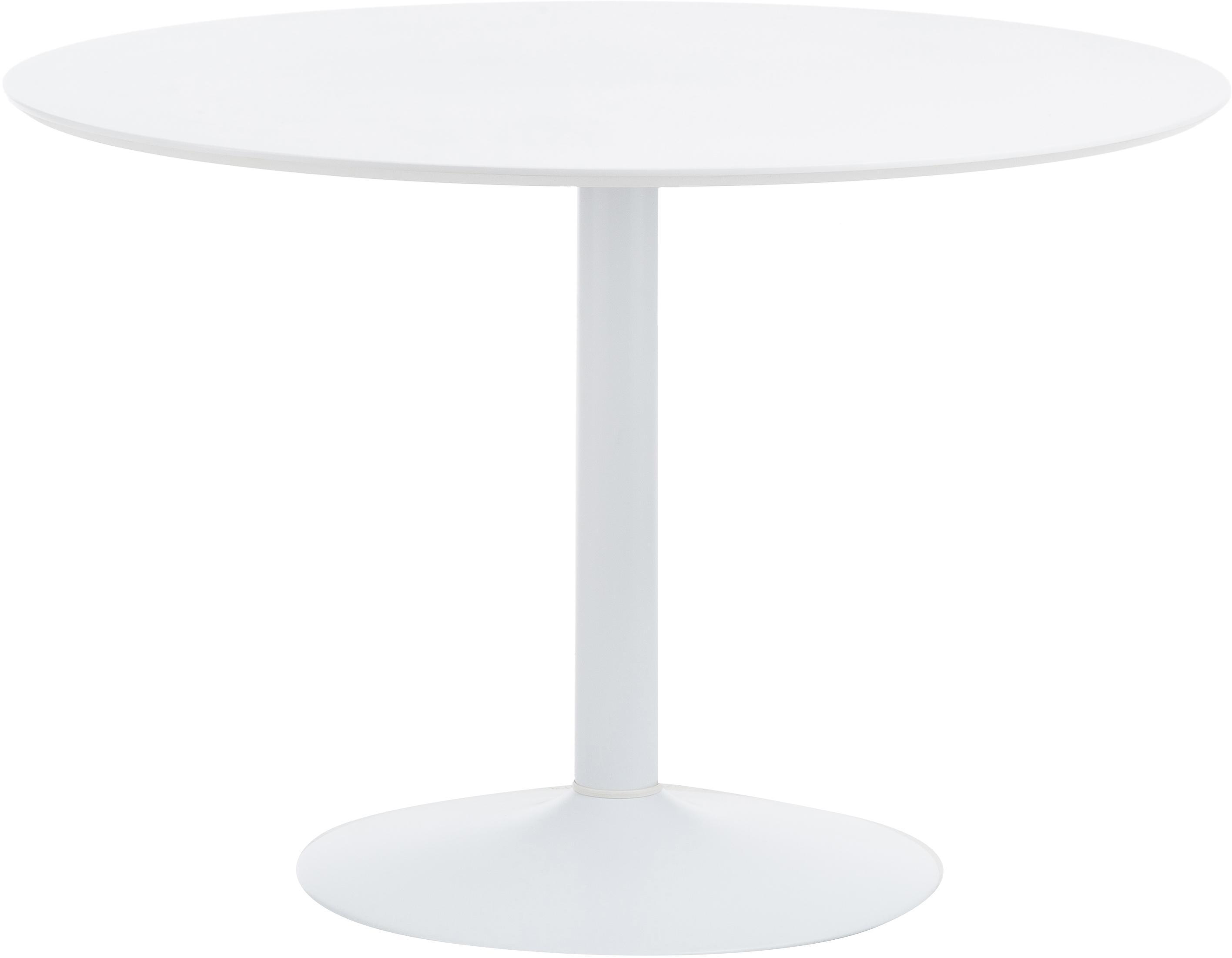 Ronde eettafel Mallorca, Tafelblad: gelakt MDF, Poot: gepoedercoat metaal, Wit, Ø 110 cm
