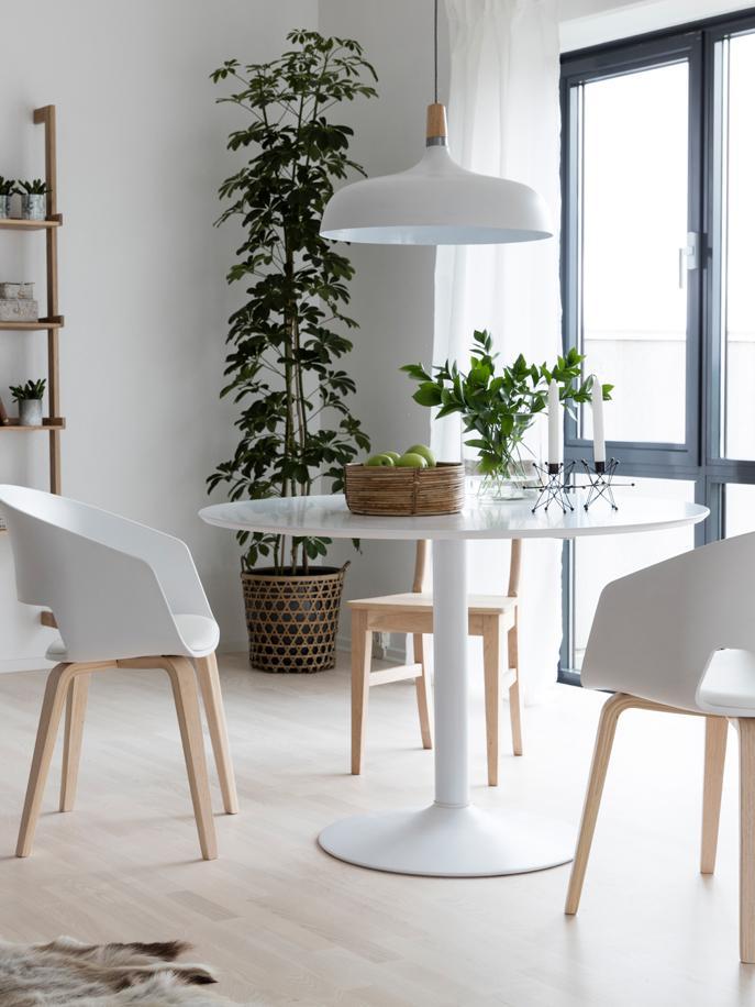 Runder Esstisch Mallorca, Tischplatte: Mitteldichte Holzfaserpla, Weiß, Ø 110 cm