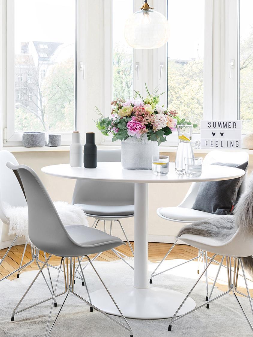 Tavolo rotondo bianco Mallorca, Piano d'appoggio: pannello di fibra a media, Bianco, Ø 110 cm
