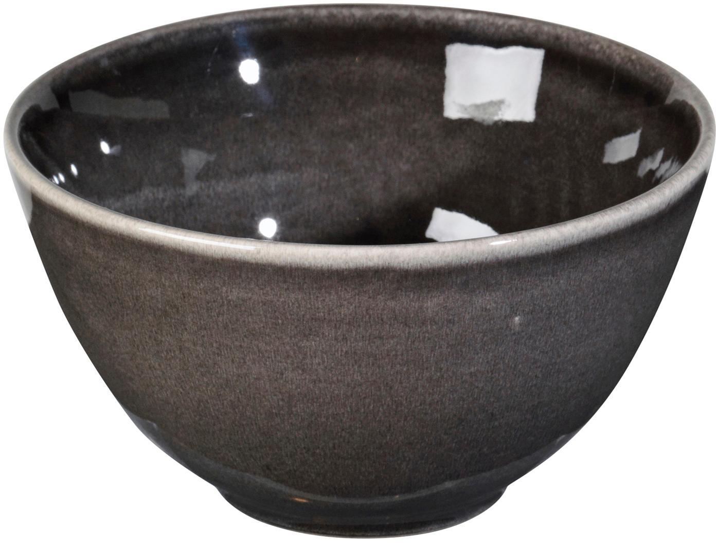 Ręcznie wykonana miska z kamionki Nordic Coal, 4 szt., Kamionka, Brązowy, Ø 15 x W 8 cm