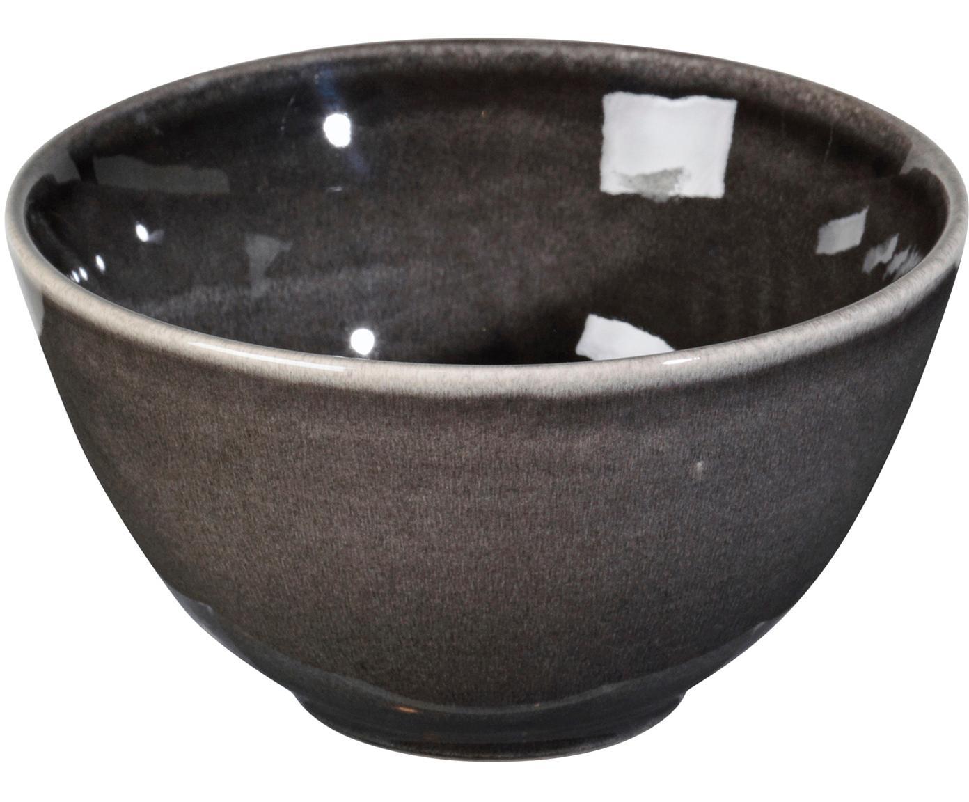 Ręcznie wykonana miska Nordic Coal, 4 szt., Kamionka, Brązowy, Ø 15 x W 8 cm