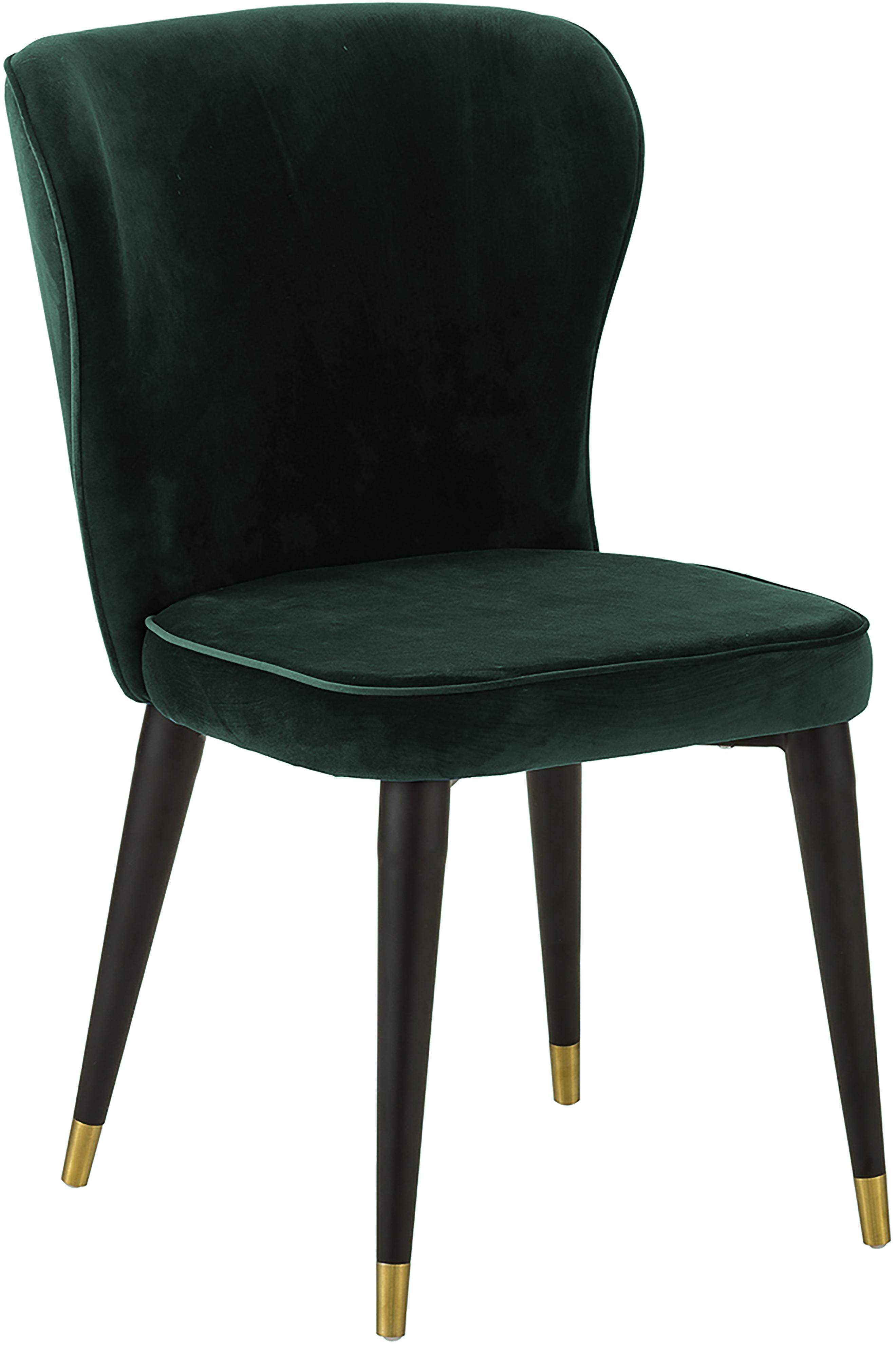 Sedia imbottita in velluto Cleo, Rivestimento: velluto (poliestere) 50.0, Gambe: metallo verniciato, Velluto verde scuro, Larg. 51 x Prof. 62 cm