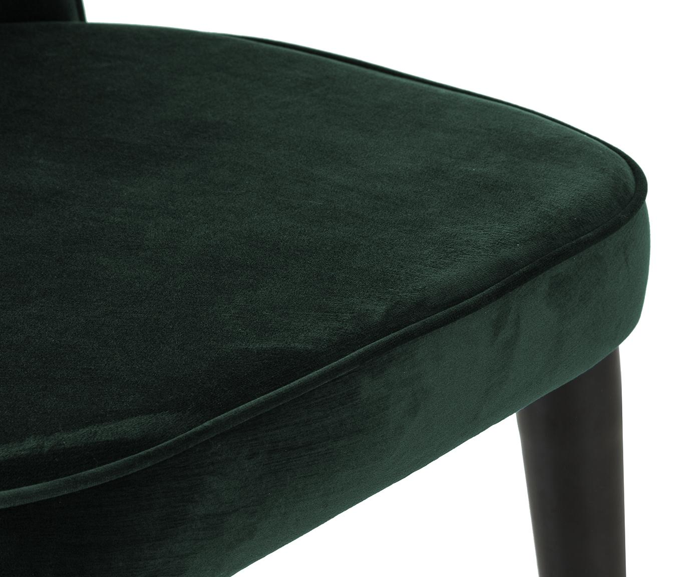 Krzesło tapicerowane z aksamitu Cleo, Tapicerka: aksamit (poliester) 5000, Nogi: metal lakierowany, Aksamitny ciemny zielony, S 51 x G 62 cm