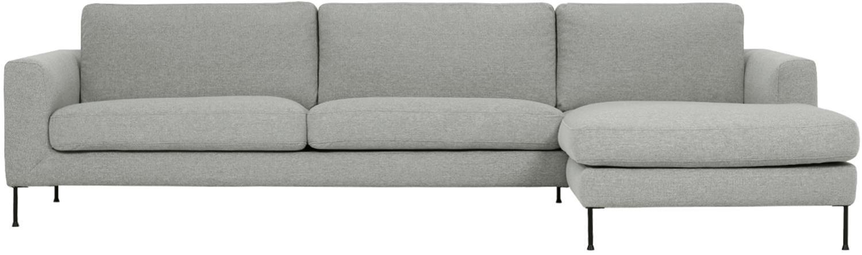 Hoekbank Cucita (4-zits), Bekleding: geweven stof (polyester), Frame: massief grenenhout, Poten: gelakt metaal, Lichtgrijs, B 302 x D 163 cm