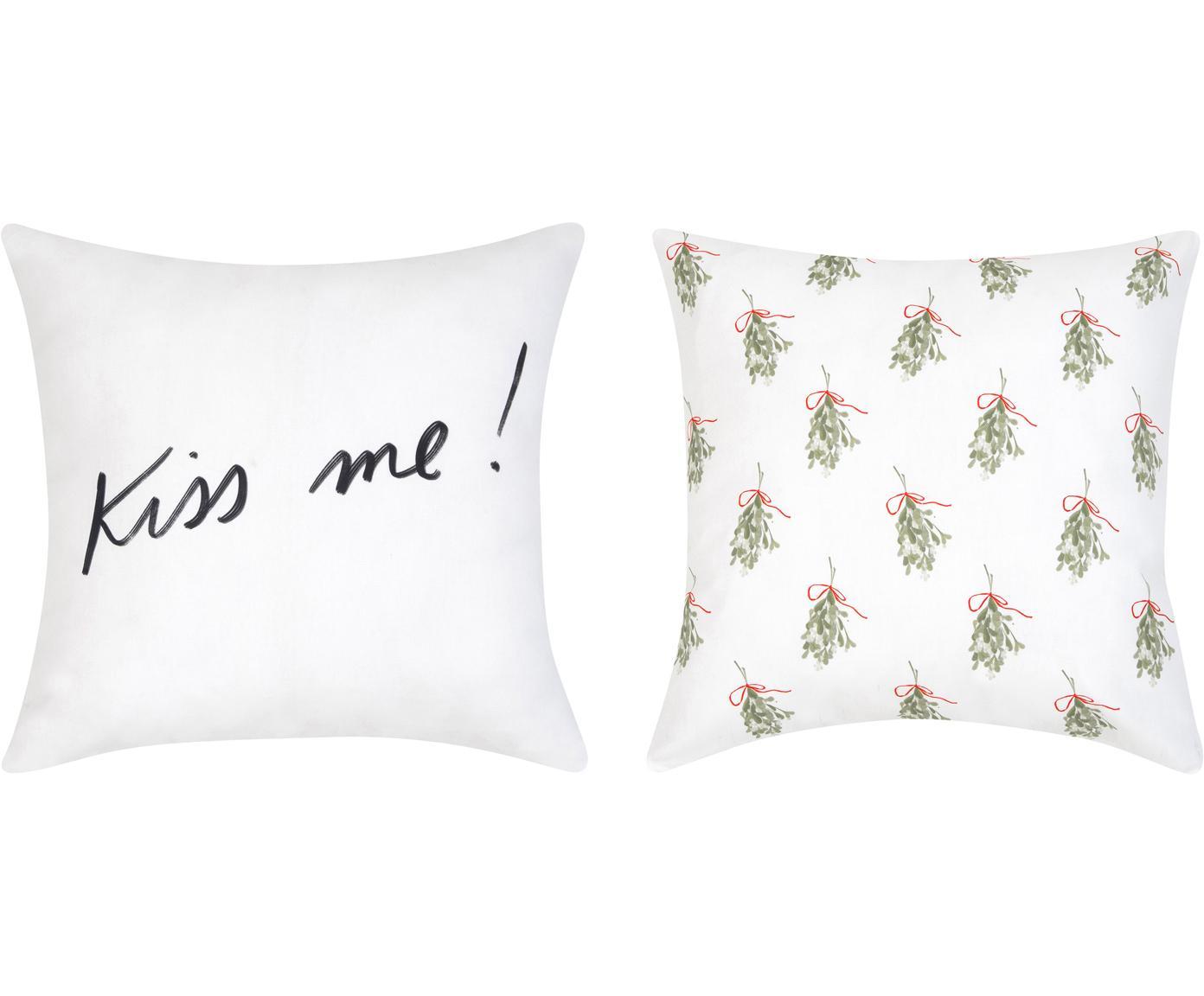 Designer Kissenhüllen Mistletoe von Kera Till, 2er-Set, Baumwolle, Grün, Rot, Schwarz, Weiss, 40 x 40 cm