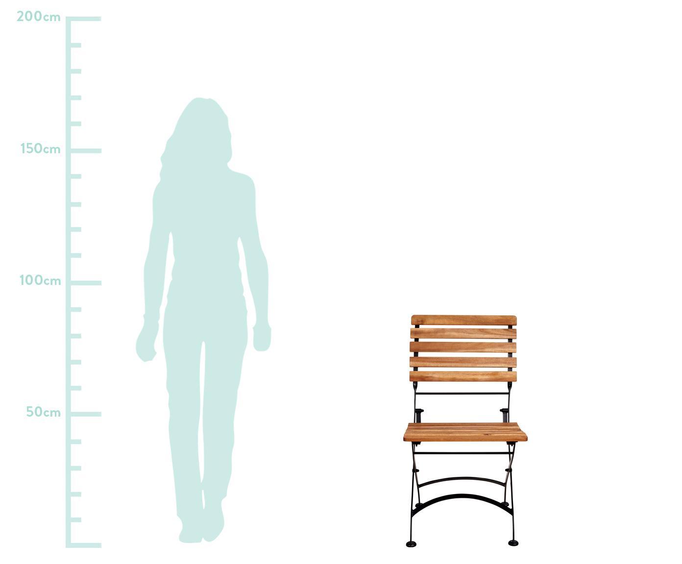 Klapstoelen Parklife, 2 stuks, Zitvlak: geolied acaciahout, ®FSC-, Frame: verzinkt en gepoedercoat , Zwart, acaciahoutkleurig, B 47 x D 54 cm