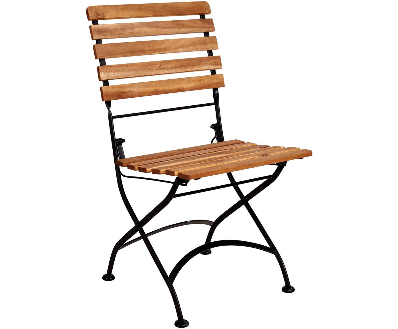 Sillas plegables de exterior Parklife, 2uds., Asiento: madera de acacia aceitada, Estructura: metal galvanizado con pin, Negro, madera de acacia, An 47x F 54 cm