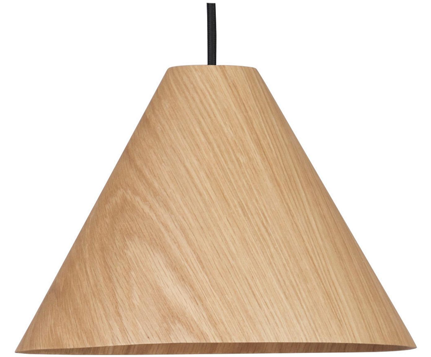 Hanglamp Wera van hout, Lampenkap: hout, Baldakijn: hout, Houtkleurig, zwart, Ø 25 x H 130 cm