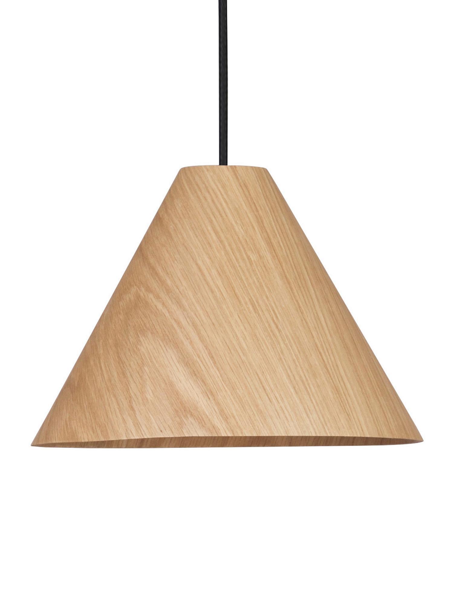 Lámpara de techo de madera Wera, Pantalla: madera, Cable: plástico, Madera, negro, Ø 25 x Al 130 cm