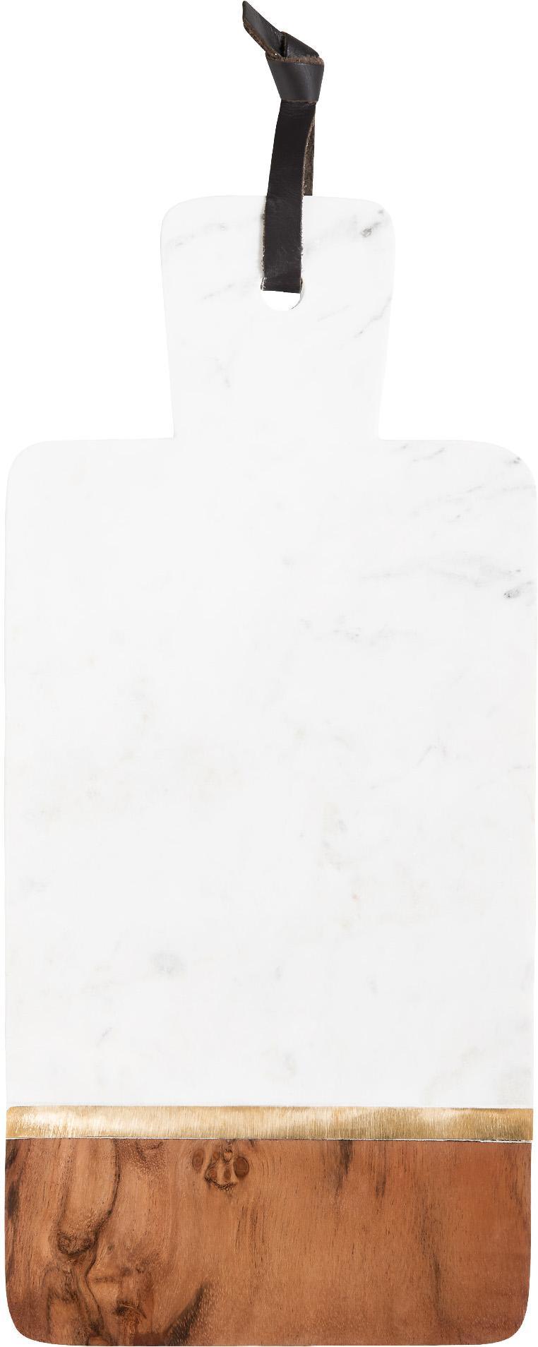 Marmor-Schneidebrett Luxory Kitchen, Marmor, Akazienholz, Messing, Weiß, Akazienholz, Messing, 17 x 37 cm