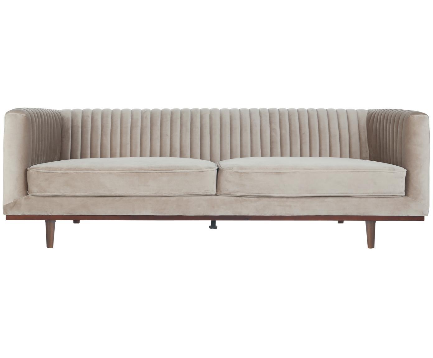 Samt-Sofa Dante (3-Sitzer), Bezug: Polyestersamt, Gestell: Kautschukbaumholz, klarla, Samt Beige, B 210 x T 87 cm