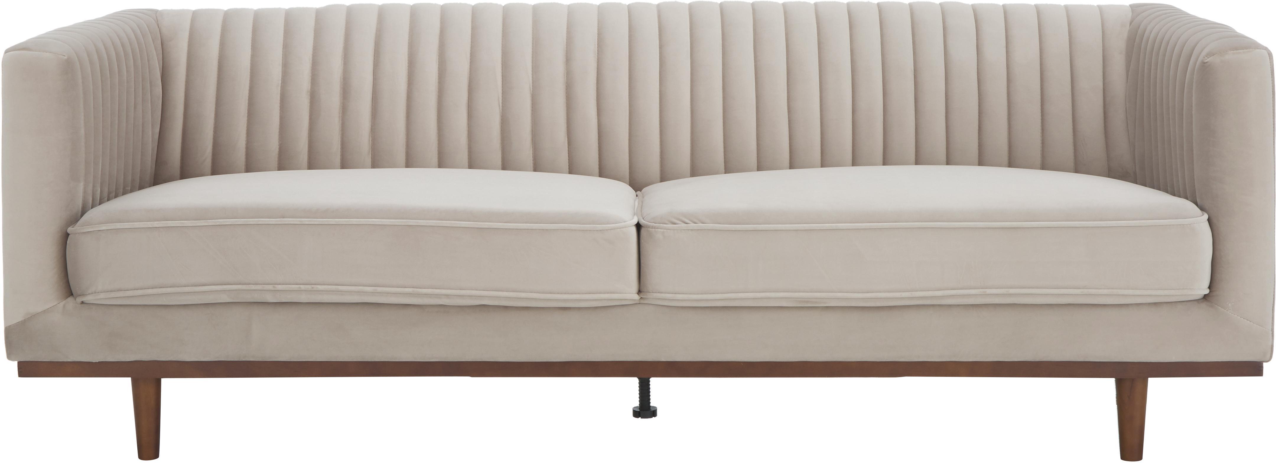 Sofá de terciopelo Dante (3plazas), Tapizado: terciopelo de poliéster, Estructura: madera de caucho lacada, Beige, An 210 x F 87 cm