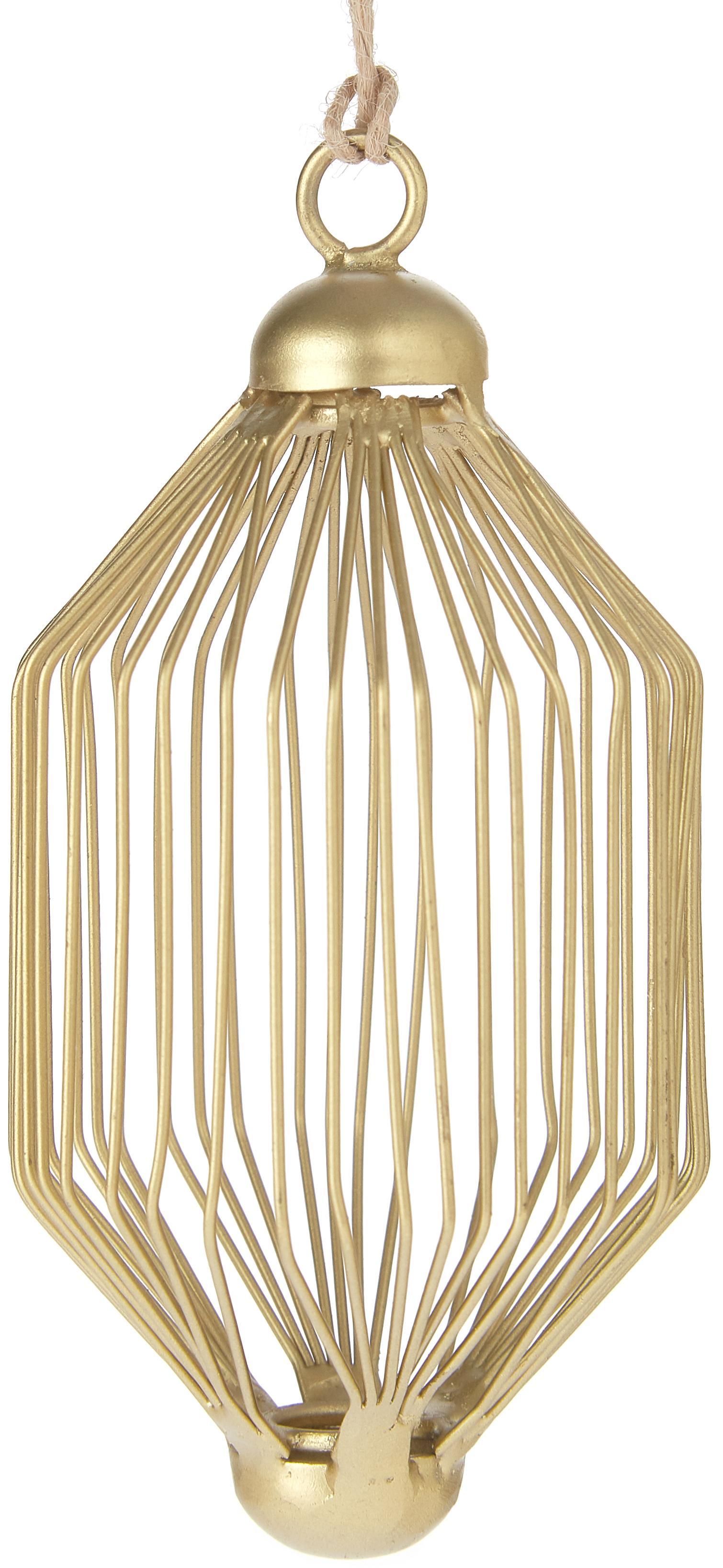 Baumanhänger Twine, 2 Stück, Metall, lackiert, Goldfarben, Ø 5 x H 10 cm