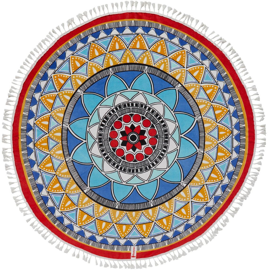 Okrągły ręcznik plażowy z frędzlami Roundi Tara, Bawełna, niska gramatura 300 g/m, Wielobarwny, Ø 150 cm