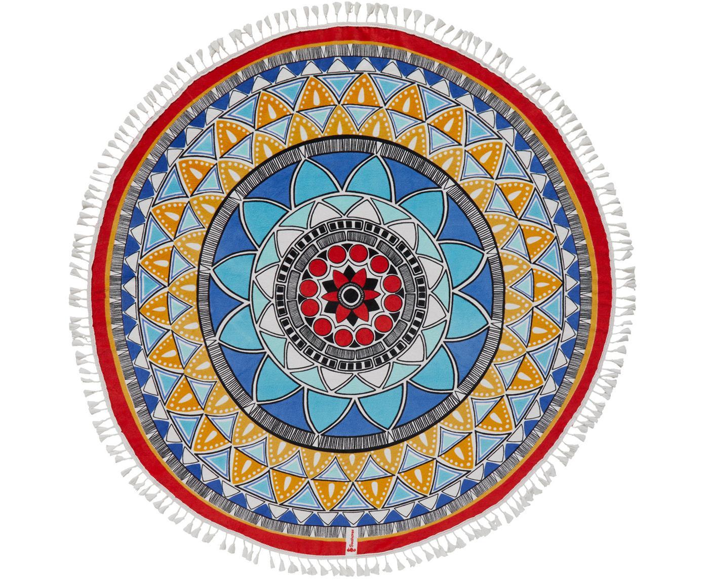 Telo mare rotondo con nappe Tara, Cotone, qualità leggera 300 g/m, Multicolore, Ø 150 cm