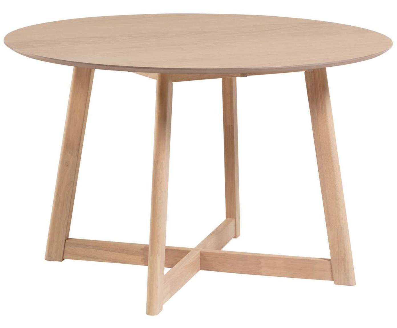 Tavolo rotondo con finitura in quercia Maryse, Piano d'appoggio: pannelli di fibra a media, Gambe: legno di caucciù massicci, Bianco, Ø 120 x Alt. 75 cm
