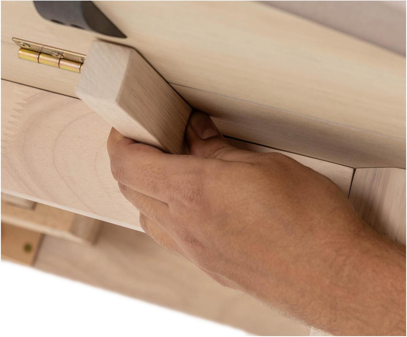 Runder Klapptisch Maryse aus Eichenholzfurnier, Tischplatte: Mitteldichte Holzfaserpla, Beine: Massives Gummibaumholz, Weiß, 120 x 75 cm