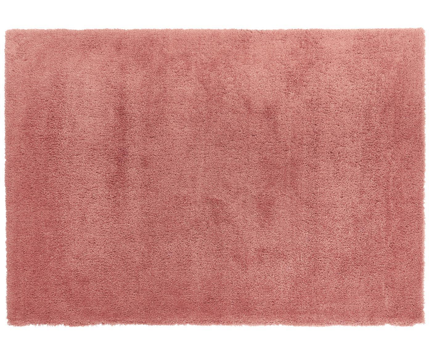 Pluizig hoogpolig vloerkleed Leighton in terracotta, Bovenzijde: 100% polyester (microveze, Onderzijde: 100% polyester, Terracotta, B 200 x L 300 cm (maat L)