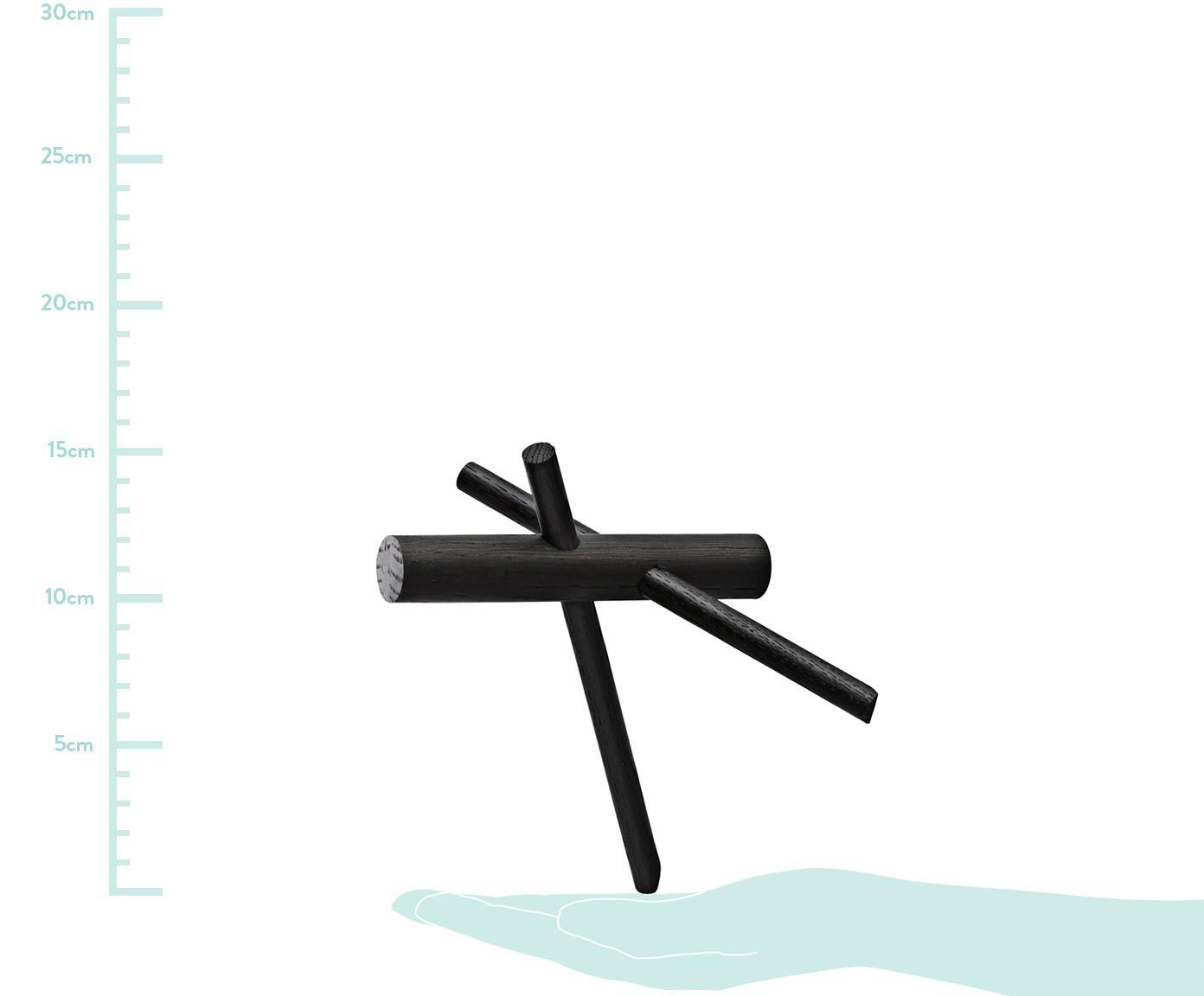 Wandhaken Sticks, 2 stuks, Eikenhout, Zwart, 16 x 15 cm