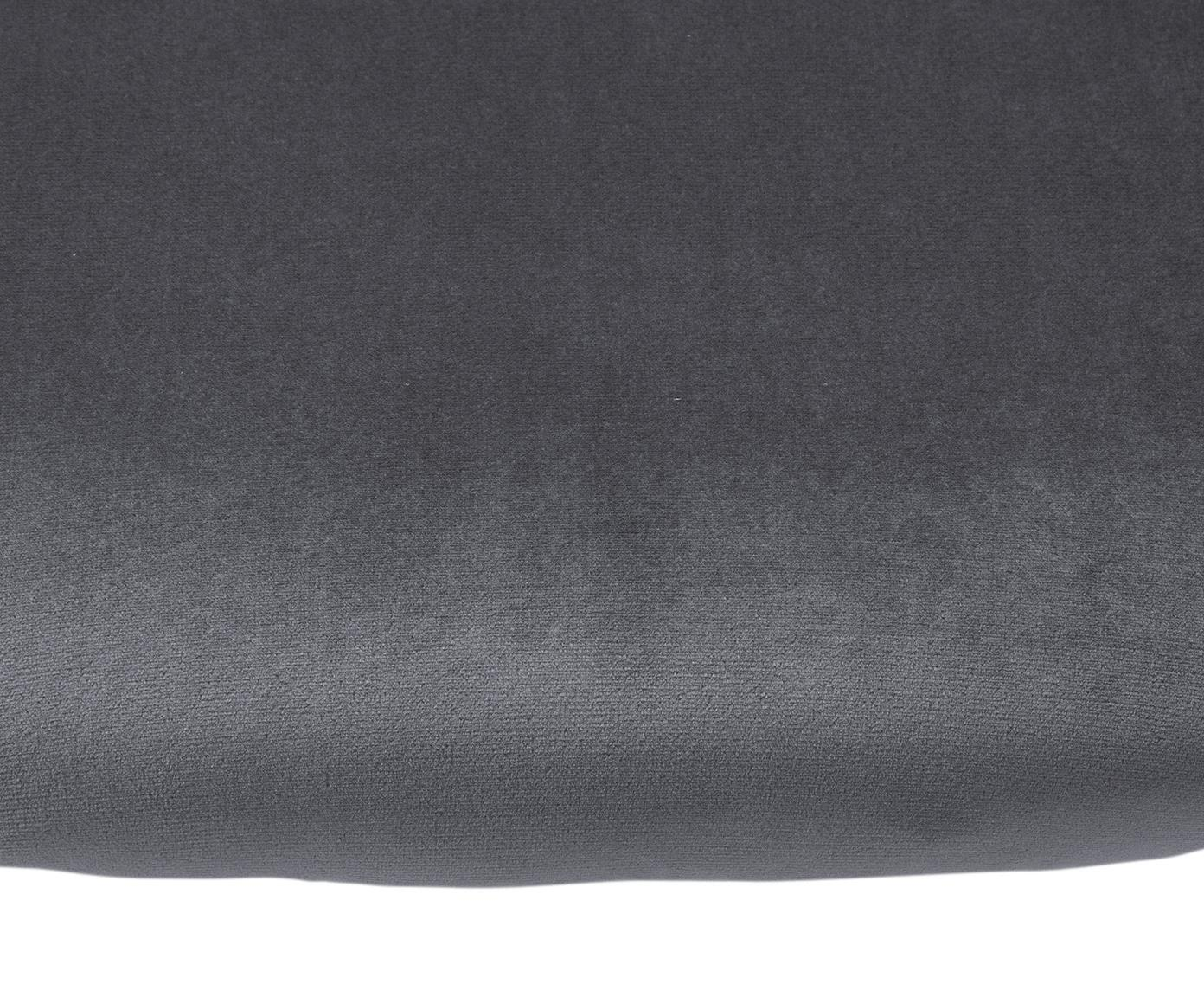 Sedia imbottita in velluto Yoki 2 pz, Rivestimento: velluto (poliestere) 20.0, Gambe: metallo verniciato a polv, Rivestimento: grigio Gambe: nero opaco, Larg. 53 x Prof. 57 cm