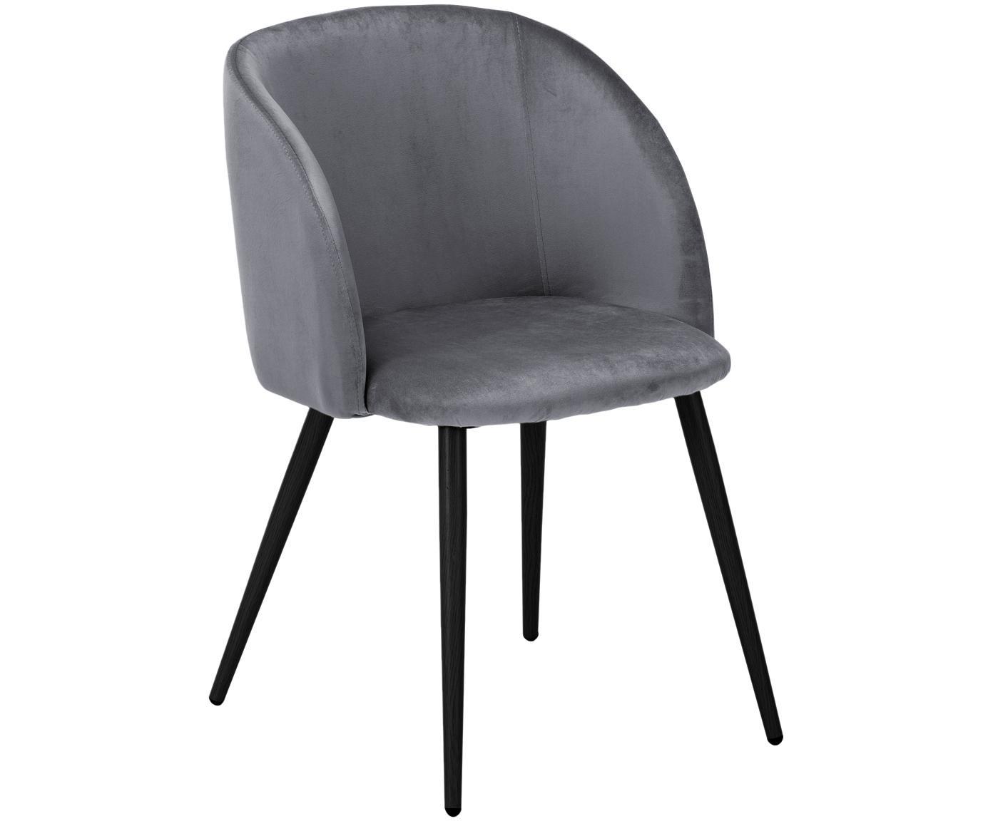 Krzesło tapicerowane z aksamitu Yoki, 2 szt., Tapicerka: aksamit (poliester) 2000, Nogi: metal malowany proszkowo, Poszewka: szary Nogi: czarny, matowy, S 53 x G 57 cm