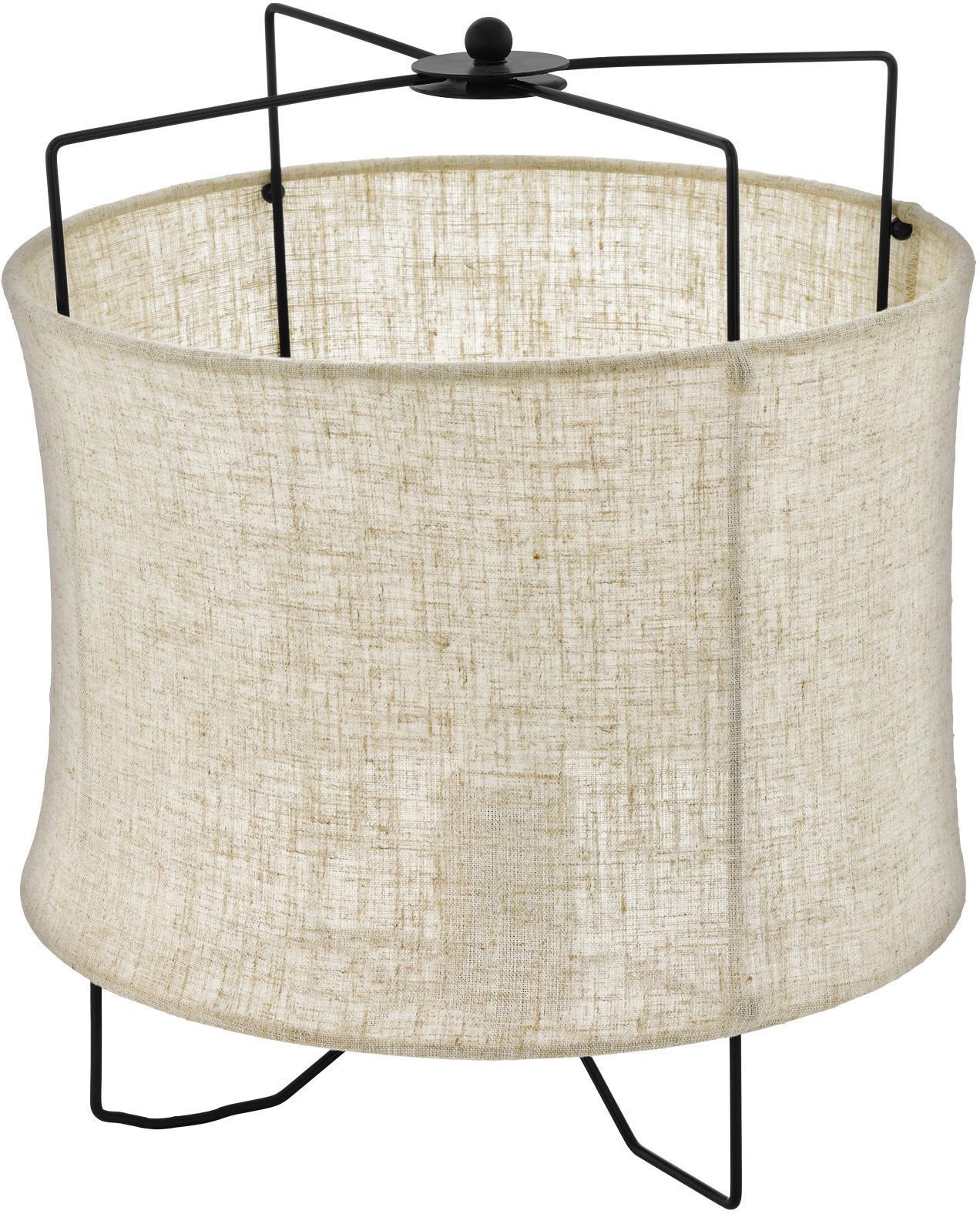 Lámpara de mesa Bridekirk, Pantalla: lino, Estructura: metal pintado, Cable: plástico, Beige, Ø 30 x Al 34 cm
