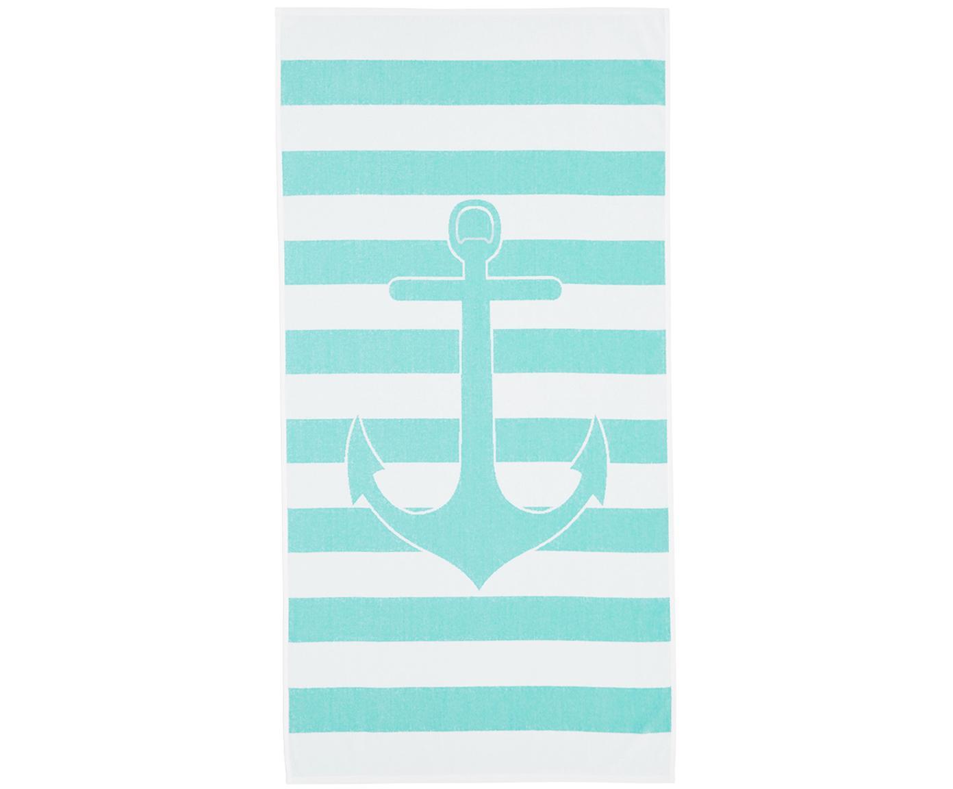 Ręcznik plażowy Anon, Bawełna Niska gramatura 380 g/m², Turkusowy, biały, S 80 x D 160 cm