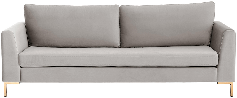 Samt-Sofa Luna (3-Sitzer), Bezug: Samt (Polyester) Der hoch, Gestell: Massives Buchenholz, Füße: Metall, galvanisiert, Samt Beige, Gold, B 230 x T 95 cm