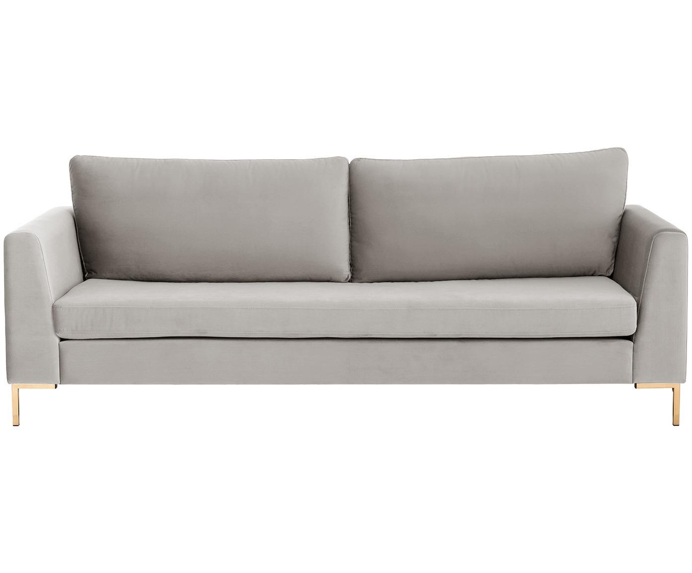 Samt-Sofa Luna (3-Sitzer), Bezug: Samt (Polyester) 80.000 S, Gestell: Massives Buchenholz, Füße: Metall, galvanisiert, Samt Beige, Gold, B 230 x T 95 cm