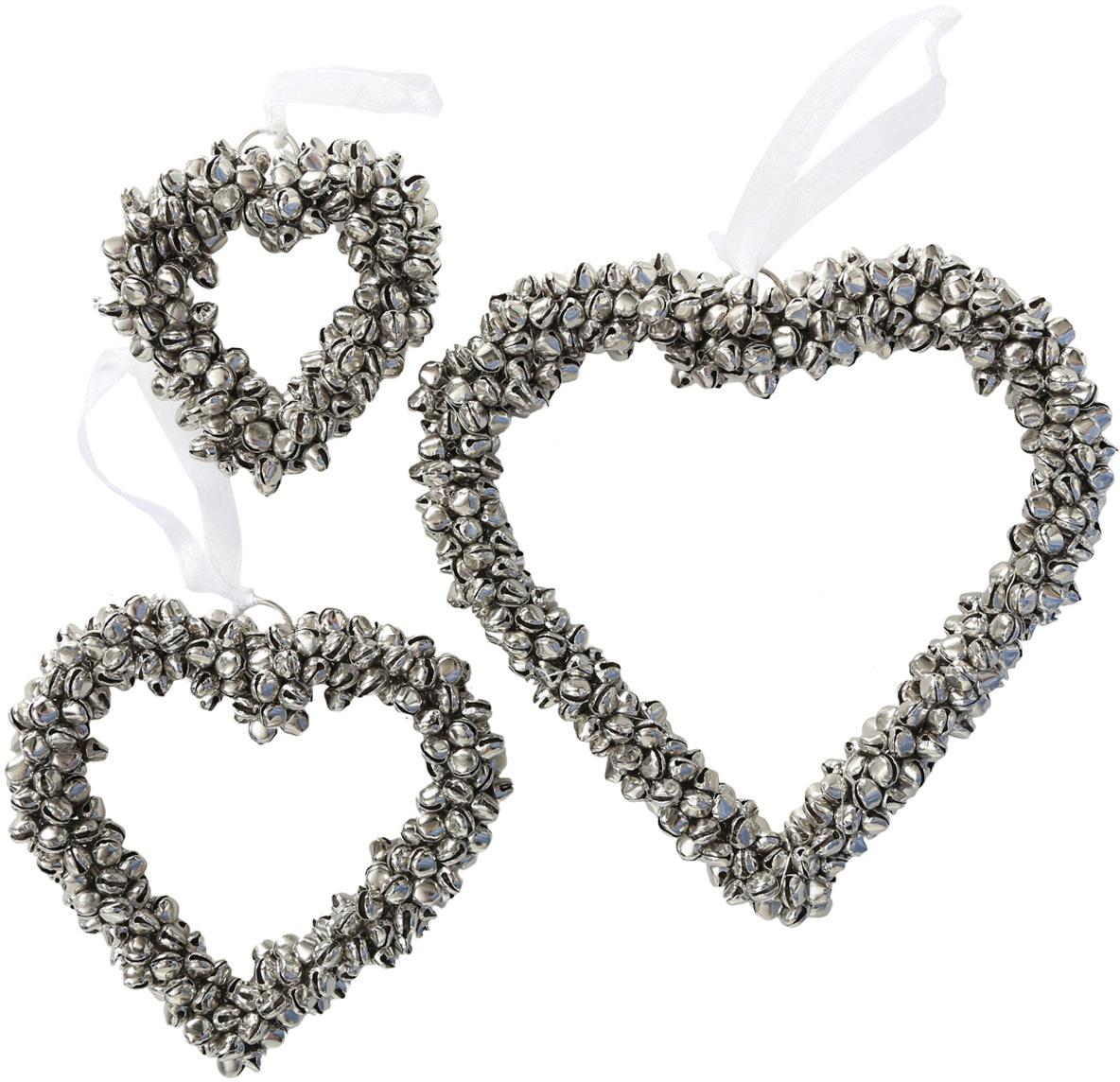 Set 3 cuori decorativi con campanellini Halina, Metallo, bianco, Set in varie misure