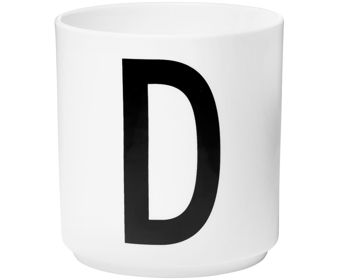 Design Becher Personal mit Buchstaben (Varianten von A bis Z), Fine Bone China (Porzellan), Weiss, Schwarz, Becher D