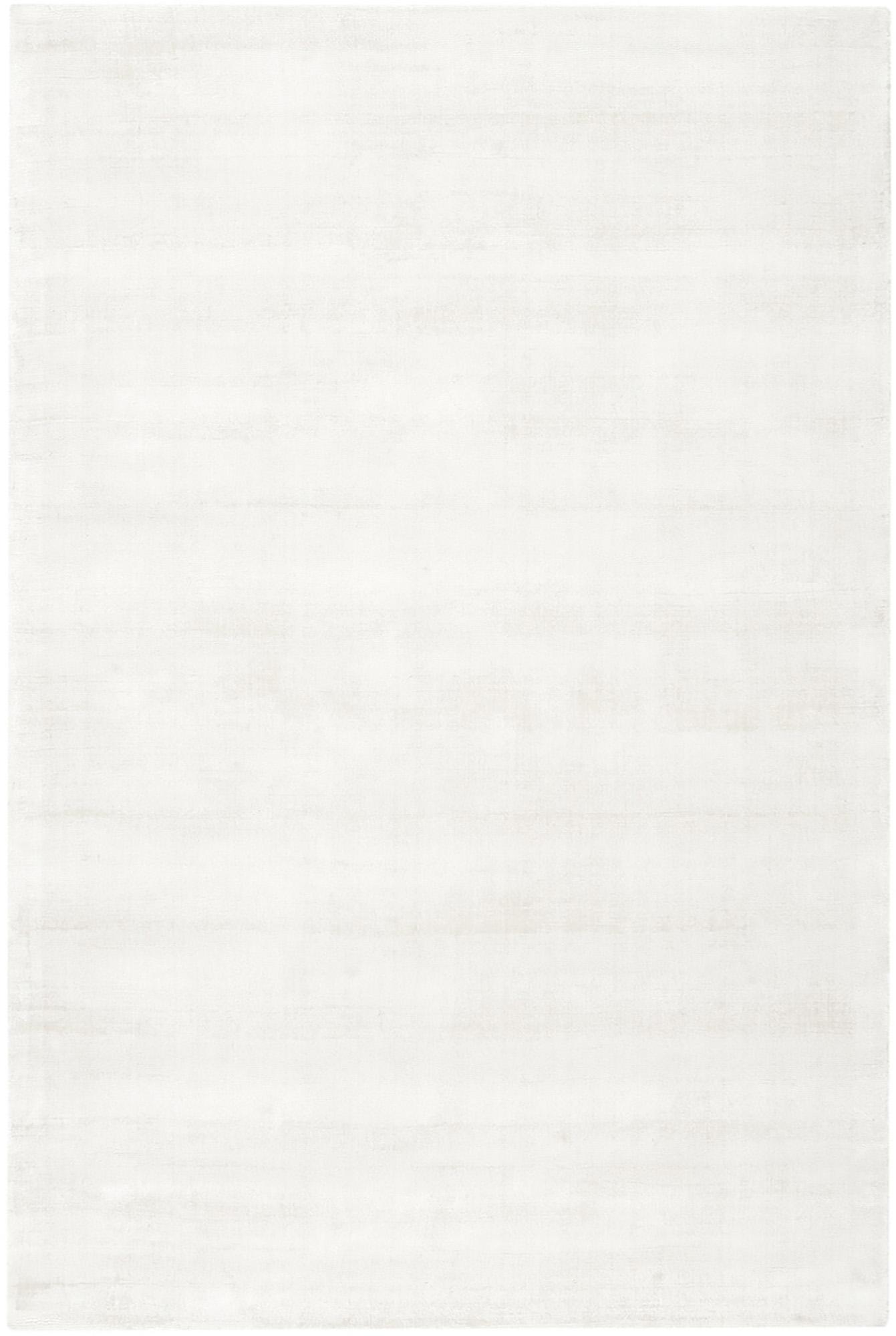 Alfombra artesanal de viscosa Jane, Parte superior: 100%viscosa, Reverso: 100%algodón, Marfil, An 200 x L 300 cm (Tamaño L)
