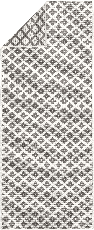In- und Outdoor-Wendeläufer Nizza in Grau/Creme, Grau, Cremefarben, 80 x 350 cm
